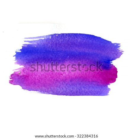 Multicolor watercolor strokes texture. Saturate blue, violet and magenta colors. Artistic background with canvas texture. Abstract paint stain. - stock photo