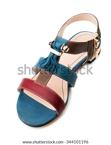 Multicolor women sandal isolated on white background.Top view. - stock photo