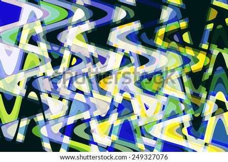 Multicolored abstract of fragmented crisscrossing vertical and horizontal sine waves on black - stock photo