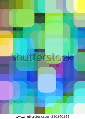 Multicolored abstract of pastel squares with rounded corners overlapping for illusion of three dimensions - stock photo