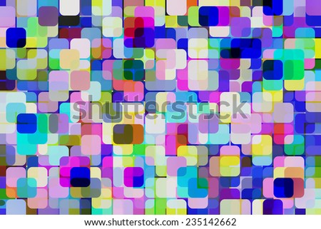 Multicolored abstract of urban multiplicity: Illustration of city lights as rounded squares overlapping for illusion of three dimensions with a gridlike pattern - stock photo