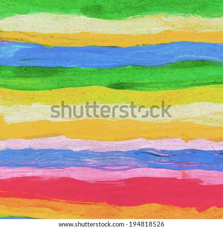 Multicolored abstract watercolor stripes painted on textured paper