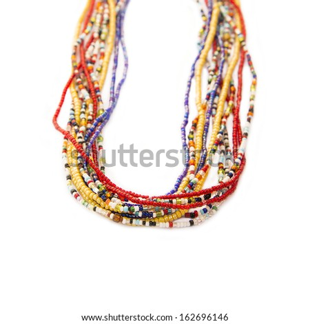 Multicolored African pearl necklaces, Senegal, Africa  - stock photo