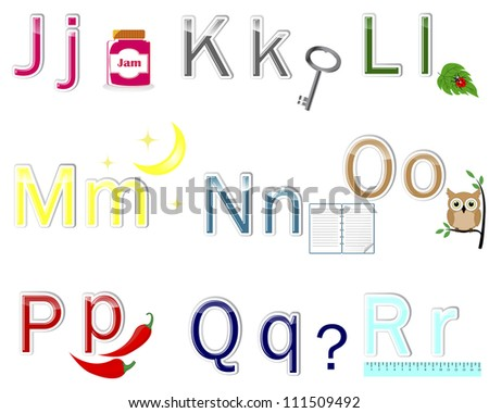 "Multicolored alphabet stickers with cute pictures. letter from ""J"" to ""R"". Raster version. - stock photo"