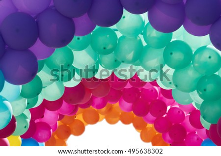 Multicolored arched balloons as decoration