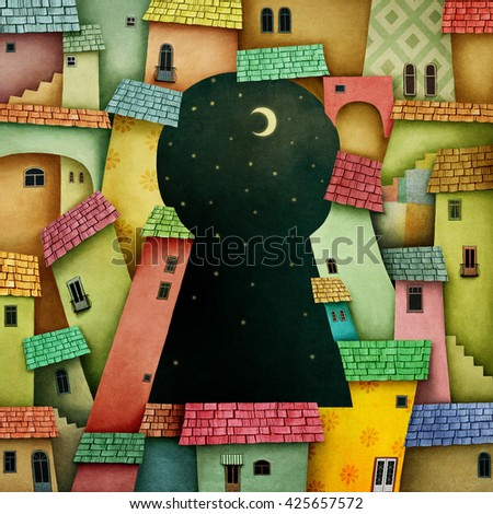 Multicolored background with bright houses and keyhole - stock photo
