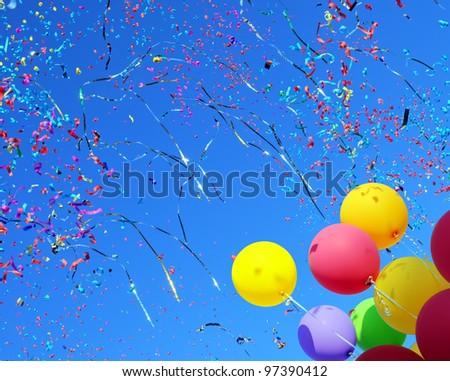 multicolored balloons and confetti in the city festival #4 - stock photo