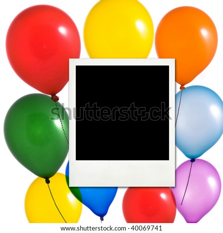 Multicolored balloons and photo frame on white background - stock photo