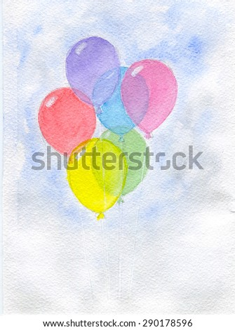 Multicolored balloons on sky background, watercolor illustration and paper texture - stock photo