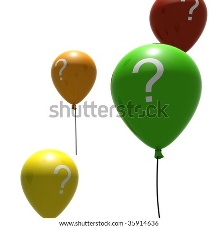 multicolored balloons with question-mark symbols - isolated on white