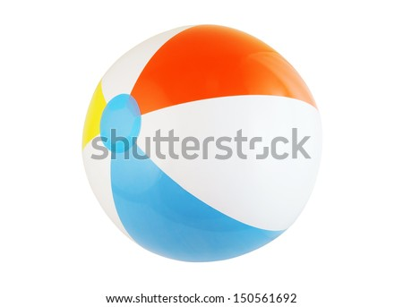 Multicolored beach ball isolated on white