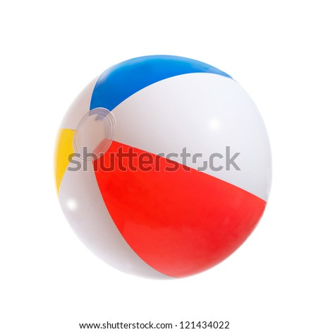 Multicolored beach ball. Isolation. - stock photo
