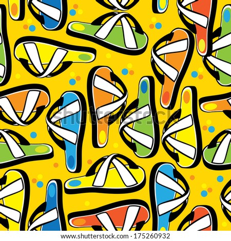 multicolored beach slippers seamless pattern