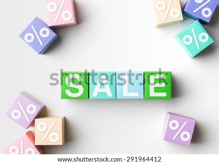 multicolored blocks with sale word written on them and percentage symbol, on white background. copy space available - stock photo