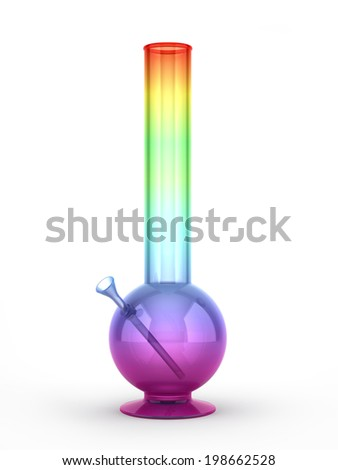 Multicolored bong isolated on white background 3D