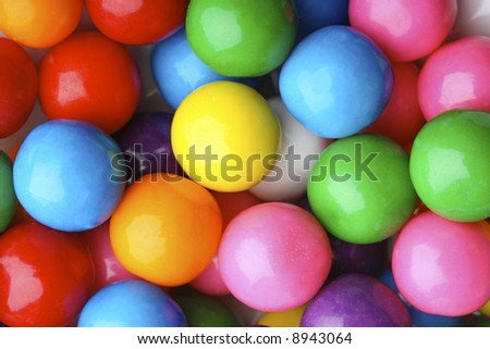 Multicolored bubble gum candy background - stock photo