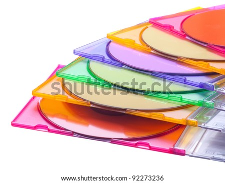 multicolored cd or dvd isolated on white