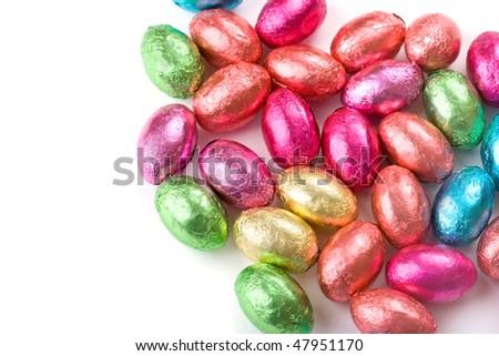 Multicolored chocolate mini eggs - stock photo