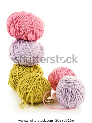 Multicolored clews isolated on white - stock photo