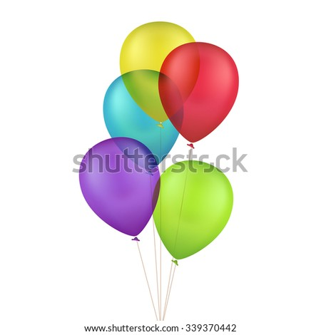 Multicolored Colorful Balloons Isolated on White Background