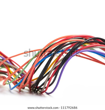 Multicolored computer cable isolated on white background - stock photo