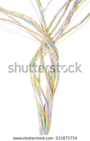 Multicolored computer network cable isolated on white background  - stock photo