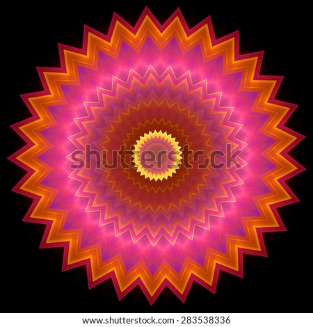 Multicolored concentric ornament pattern inscribed in spiked round shape on black. Shapes inscribed into each other with zoom effect. Image shows orange, magenta and bright yellow colors. - stock photo