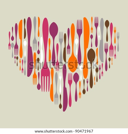 Multicolored cutlery icon set in heart shape. Fork, knife and spoon silhouettes. - stock photo