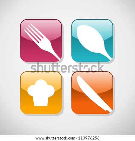 Multicolored cutlery web icons set. Restaurant and food industry background. - stock photo