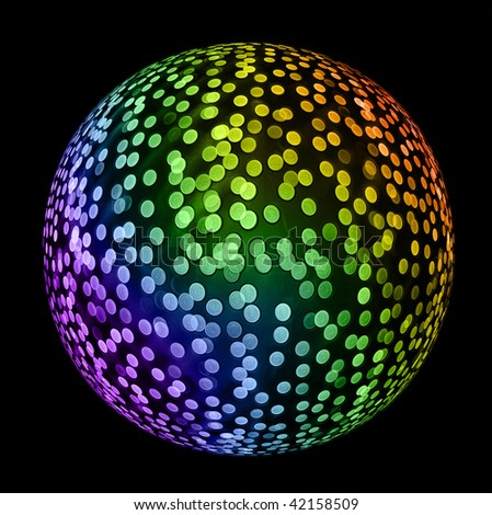 Multicolored Disco ball on black. Holiday abstract background
