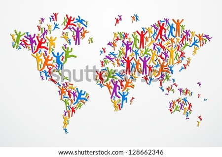 Multicolored diversity people in Globe map shape isolated. - stock photo