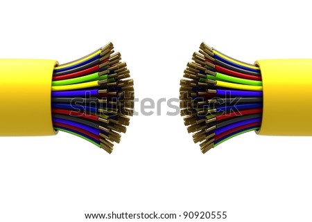 Multicolored electric cabel isolated on white background - stock photo