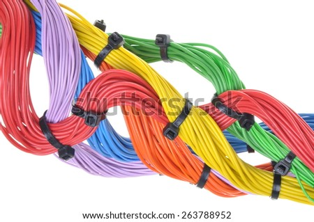 Multicolored electrical cables isolated on white background  - stock photo