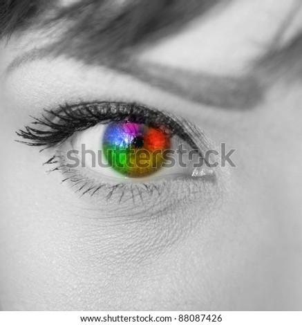 Multicolored eye macro shot - stock photo