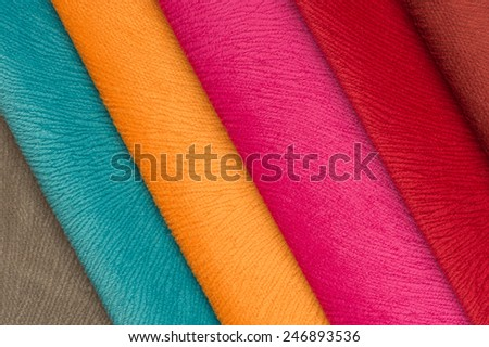 Multicolored Fabric Swatches - stock photo