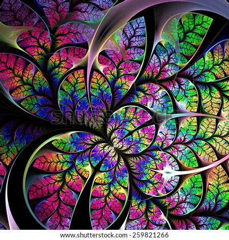 Multicolored fabulous fractal pattern. On black. Collection - tree foliage. Computer generated graphics. - stock photo