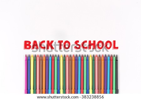 Multicolored felt pens isolated on white with BACK TO SCHOOL word - stock photo