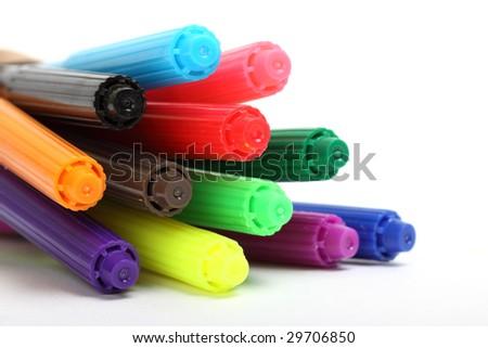 multicolored felt tip pens isolated on white background - stock photo