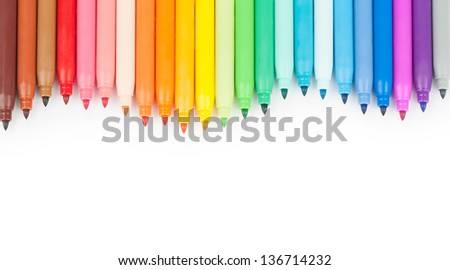 Multicolored Felt Tip Pens on White Background