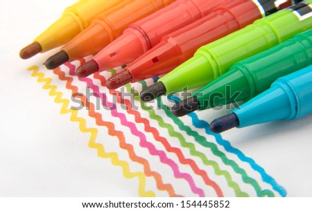 Multicolored Felt Tip Pens with colour lines  - stock photo