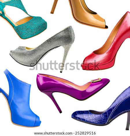 Multicolored female shoes background - stock photo