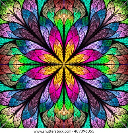 Multicolored Flower Pattern In Stained Glass Window Style You Can Use It For Invitations