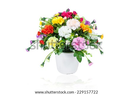 Multicolored flowers in a vase, isolated on white background - stock photo