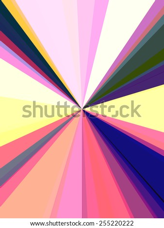 Multicolored futuristic abstract of convergent light beams with radial geometry to impart illusion of travel at nearly the speed of light - stock photo
