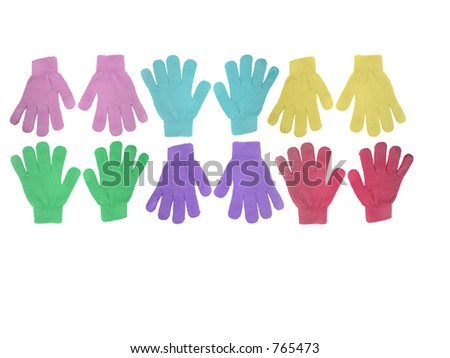 Multicolored gloves - stock photo