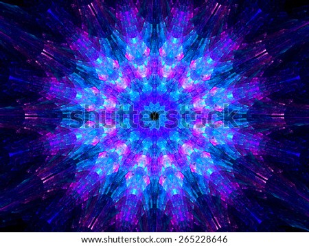 Multicolored glowing fractal kaleidoscope mandala in space, computer generated abstract background - stock photo