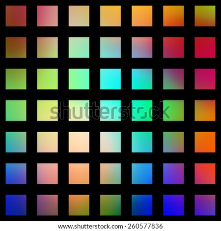 Multicolored graduated square blocks on a black background. - stock photo