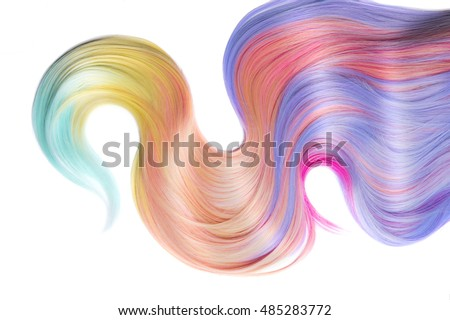 Multicolored Hair isolated over white background. Shiny Healthy colored hair lock closeup, Colorful Dyed hair, pastel colors