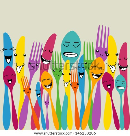 Multicolored happy social cutlery icons seamless pattern - stock photo