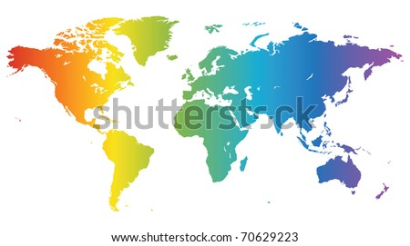 Multicolored high quality map of the World. Raster version. Vector version is also available. - stock photo